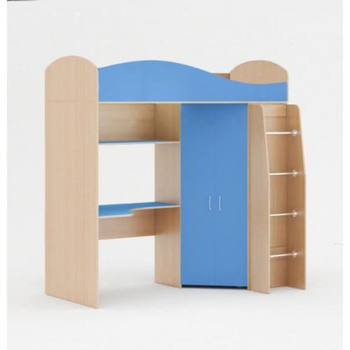 Кровать-чердак (без матраца), Синий/беленый дуб