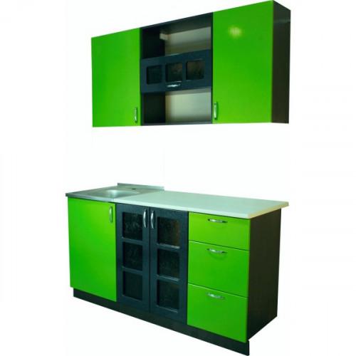 """Кухонный гарнитур """"Семафор 13"""" МДФ 1,5 м, зеленый"""