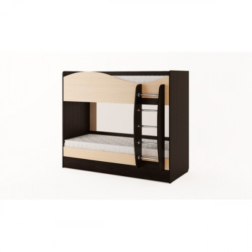 Кровать двухъярусная с ящиками (без матраца), венге/беленый дуб