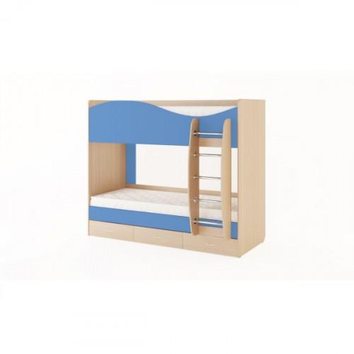 Кровать двухъярусная с ящиками (без матраца), Дуб беленый/Синий