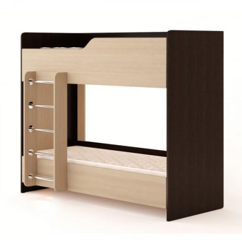 Кровать двухъярусная №2 (без матраца), венге/беленый дуб